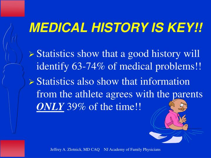 MEDICAL HISTORY IS KEY!!