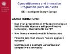 competitiveness and innovation programme cip 2007 201310