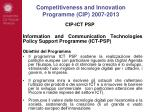 competitiveness and innovation programme cip 2007 201314