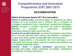competitiveness and innovation programme cip 2007 20133