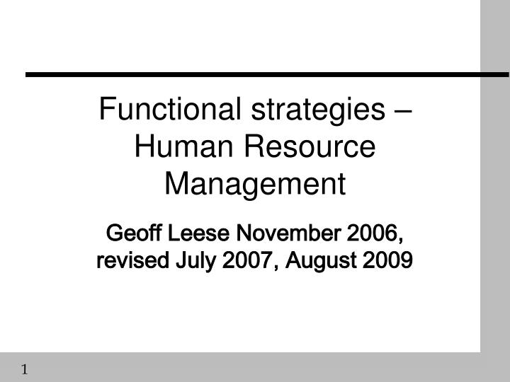functional strategies human resource management n.