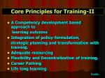 core principles for training ii