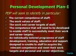 personal development plan i