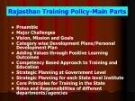 rajasthan training policy main parts