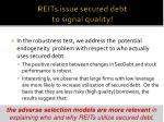 reits issue secured debt to signal quality