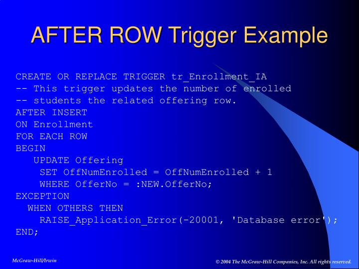 AFTER ROW Trigger Example