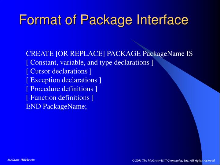Format of Package Interface