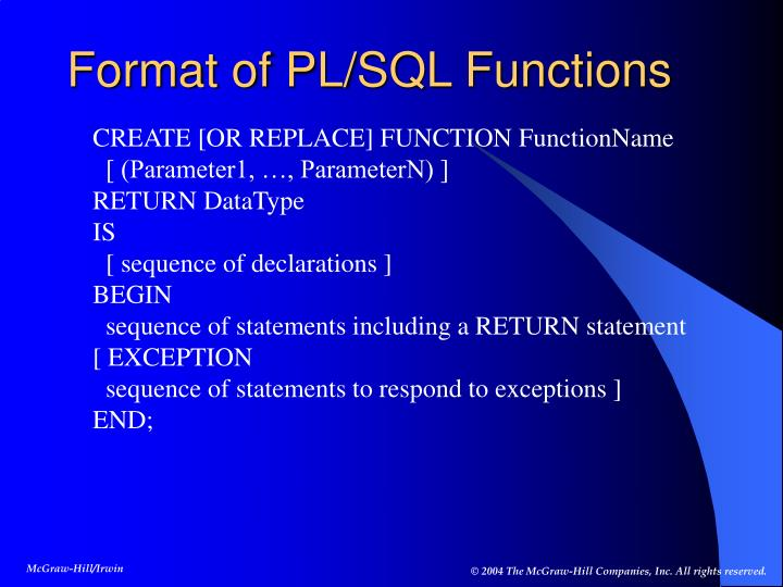 Format of PL/SQL Functions