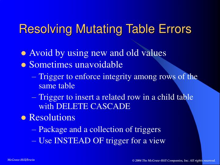 Resolving Mutating Table Errors