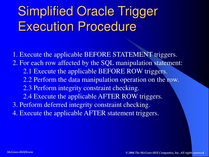 Simplified Oracle Trigger Execution Procedure