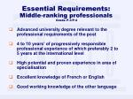 essential requirements middle ranking professionals grade p 3 p 4