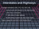 interstates and highways