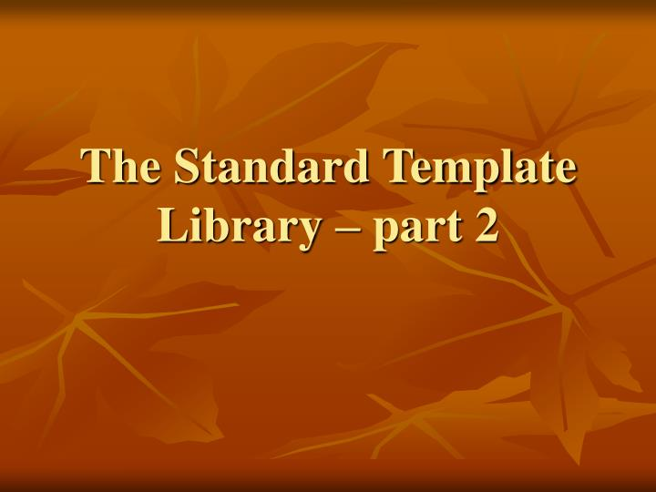 the standard template library part 2 n.