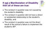 if not a manifestation of disability then all of these are true