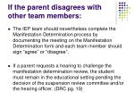 if the parent disagrees with other team members