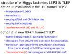 c ircular e e higgs factories lep3 tlep