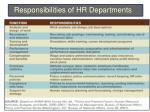 responsibilities of hr departments