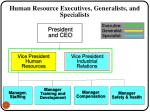 human resource executives generalists and specialists