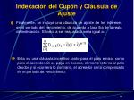 indexaci n del c up n y cl usula de ajuste