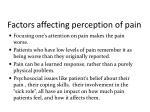 factors affecting perception of pain1