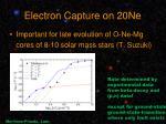 electron capture on 20ne