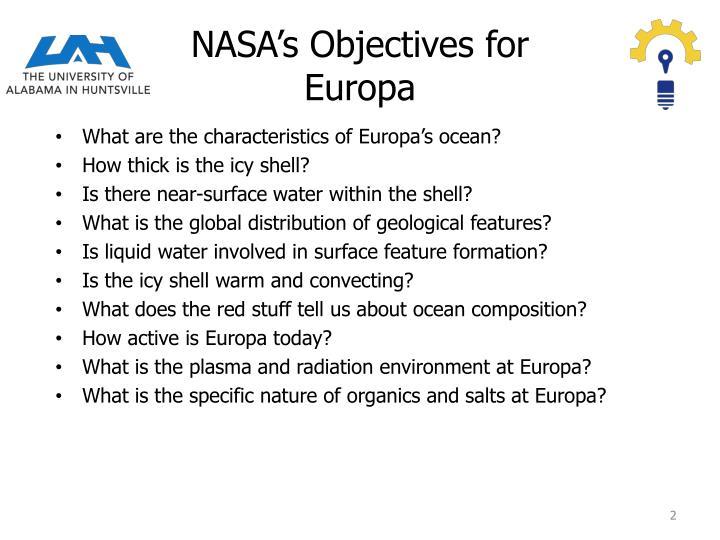 Nasa s objectives for europa
