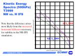 kinetic energy spectra 500hpa t3999 nh vs h ifs