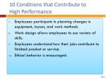 10 conditions that contribute to high performance1