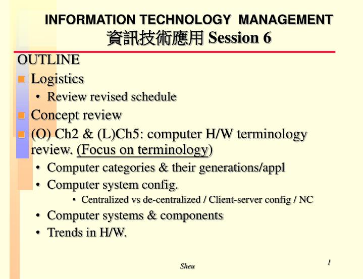 information technology management session 6 n.