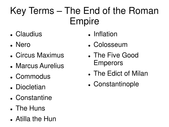 key terms the end of the roman empire n.