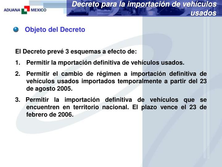 Decreto para la importación de vehículos usados