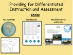 providing for differentiated instruction and assessment