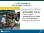 creating opportunity our strategic focus areas2