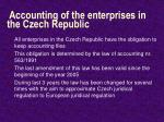 accounting of the enterprises in the czech republic