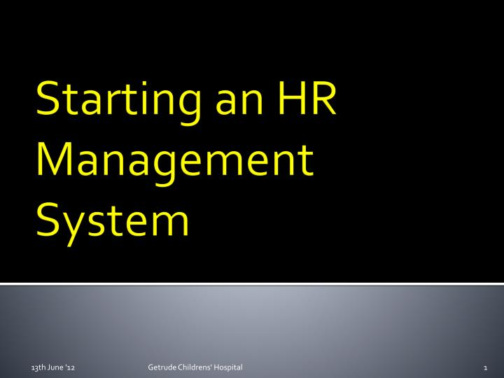 starting an hr management system n.