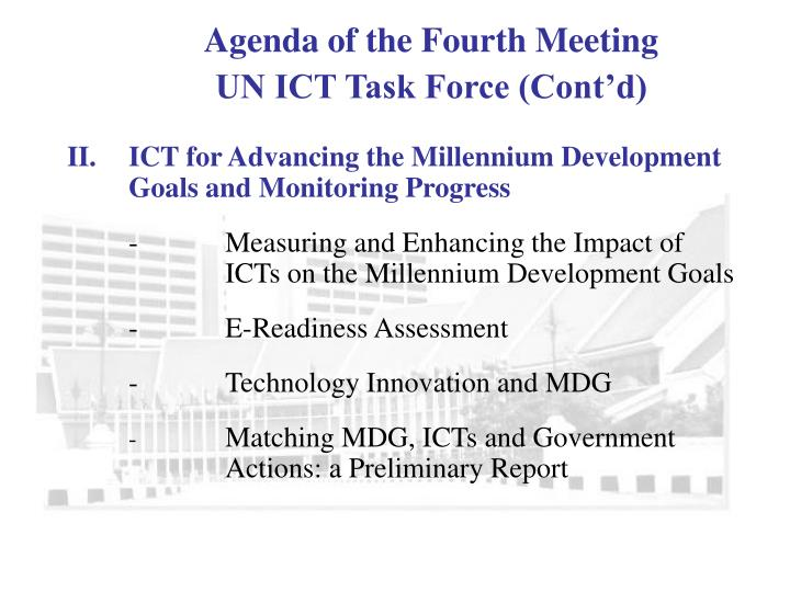 governance with ict towards mdg a In line with the six previous biennial reports, this 2015 millennium development goals report examines progress made since 2000 towards all the goals and their targets, and draws some lessons from the implementation and monitoring of the mdgs.