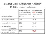 manner class recognition accuracy in timit errors per phoneme