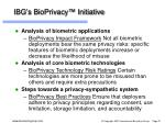 ibg s bioprivacy initiative