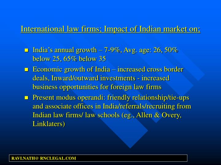 International law firms; Impact of Indian market on;