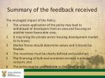 summary of the feedback received1