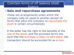 common forms of off balance sheet finance2