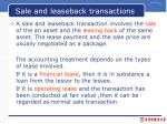 sale and leaseback transactions