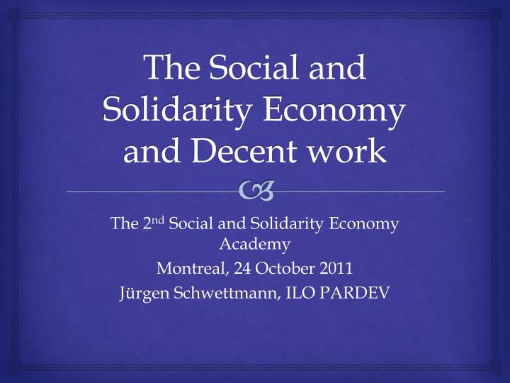 the social and solidarity economy and decent work