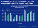 in addition to balance sheet effects we also analyzed the impact on income statements