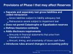 provisions of phase i that may affect reserves