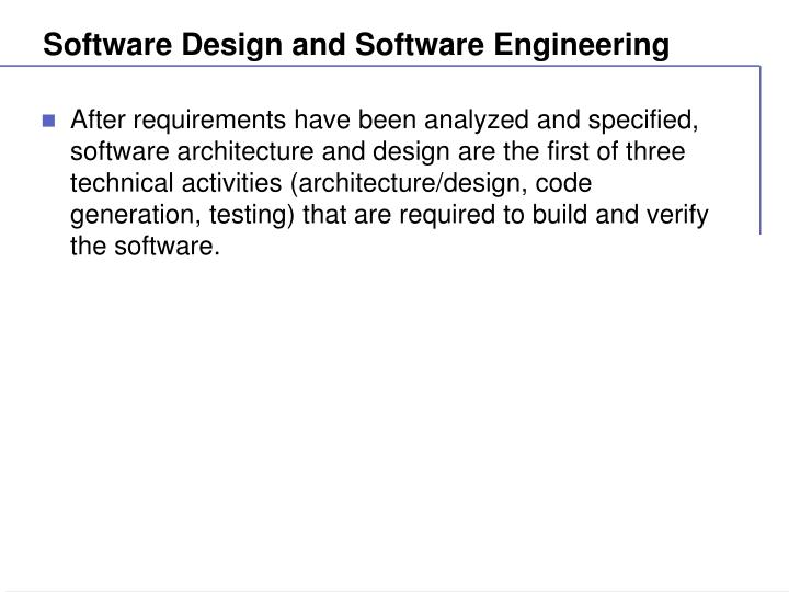 Software Design And Software Engineering