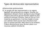 types de democratie representative