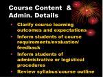 course content admin details