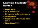 learning students names