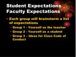 student expectations faculty expectations